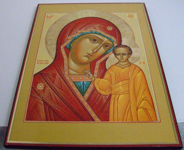 Handmade Religous Icon Madonna of Kazanskaya