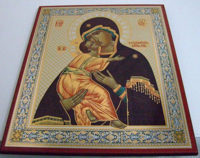 Handmade Religous Icon Theotokos of Vladinirskaya