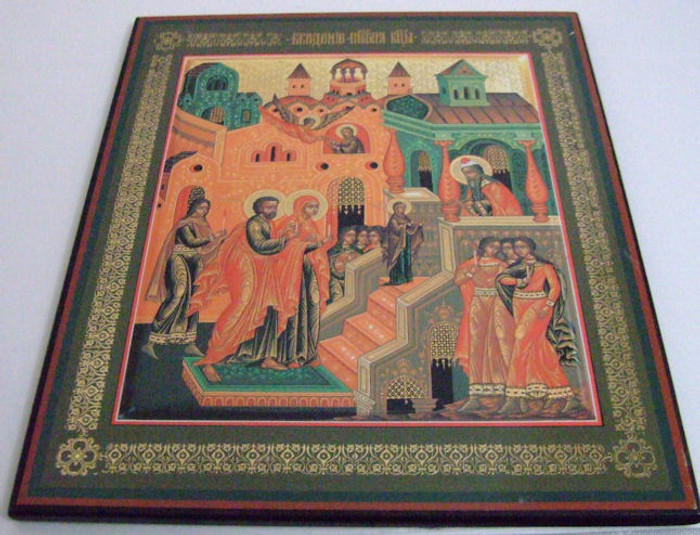 Handmade Religous Icon The Bringing of the Holly Madonna