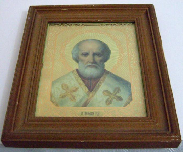 Handmade Religous Icon of St George Framed