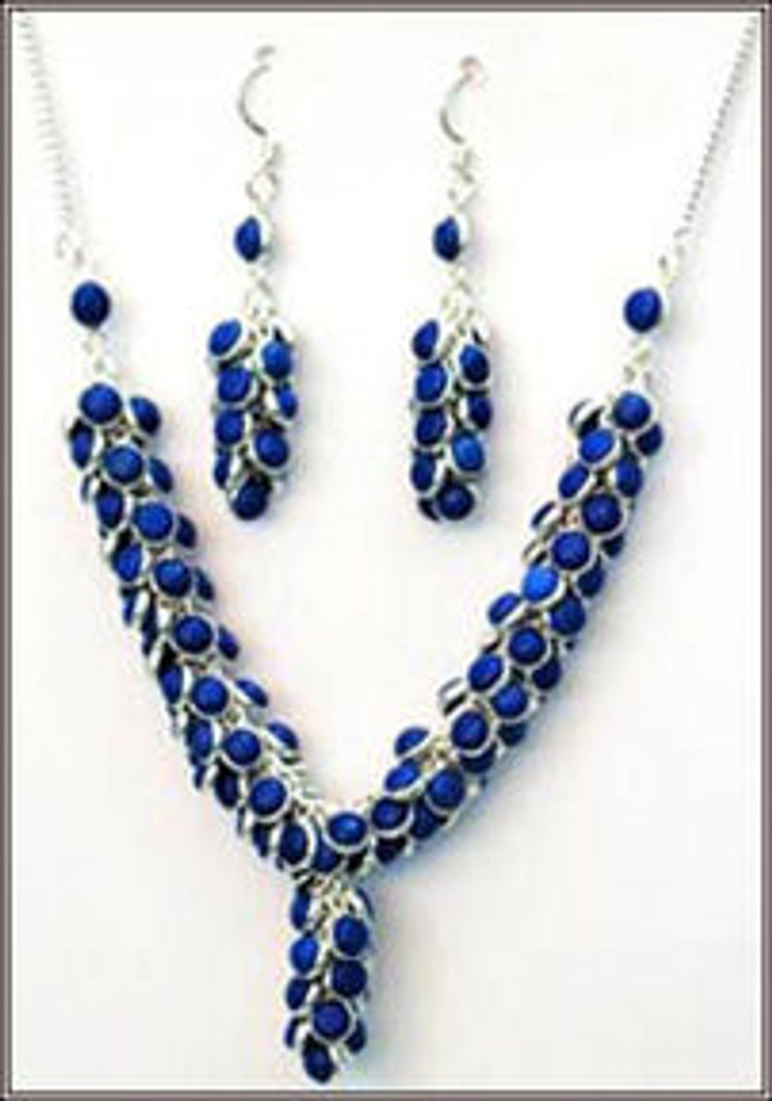 Silver Necklace in Lapis with earrings