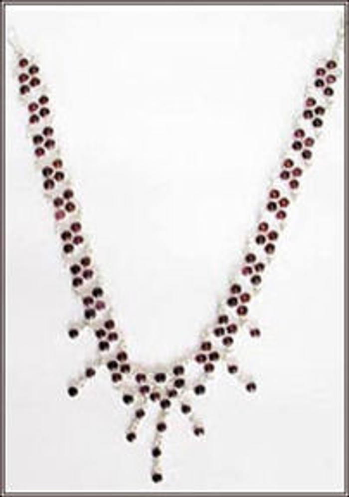 Silver Necklaces with Garnets