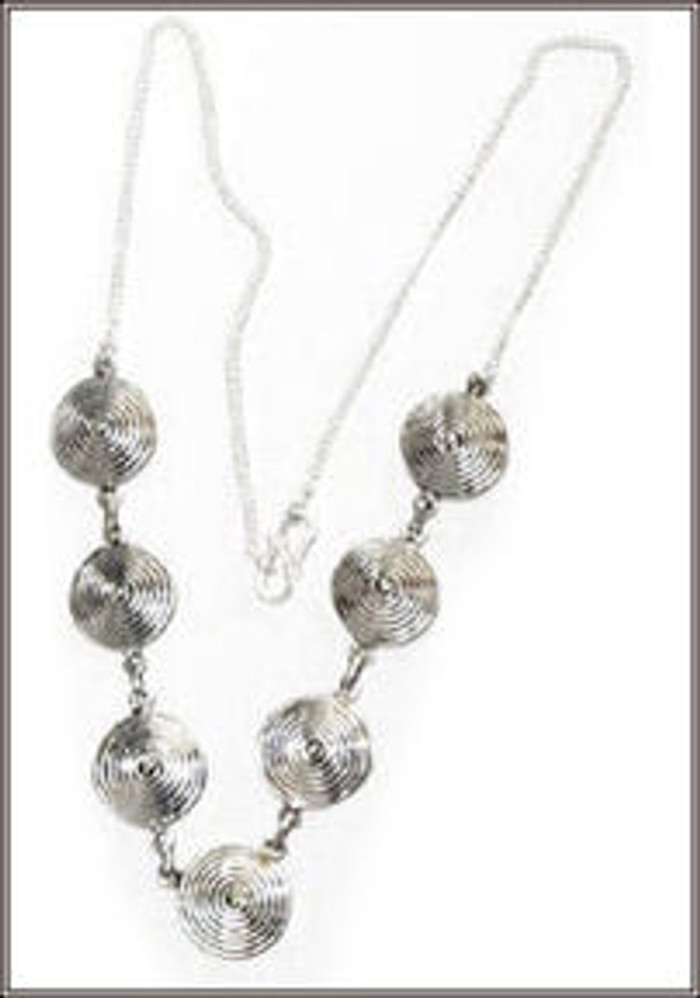 Silver Necklace with Silver rounds