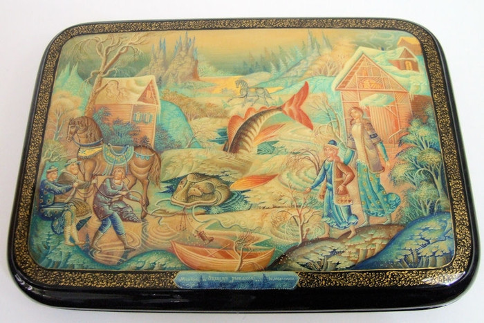 "Russian Lacquer Box One of a Kind ""Russian Winter Fishing"" by Nickolay Molodkin of Mystera"