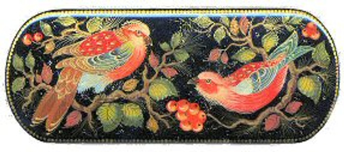 """Red Birds with Berries"" lacquer box"