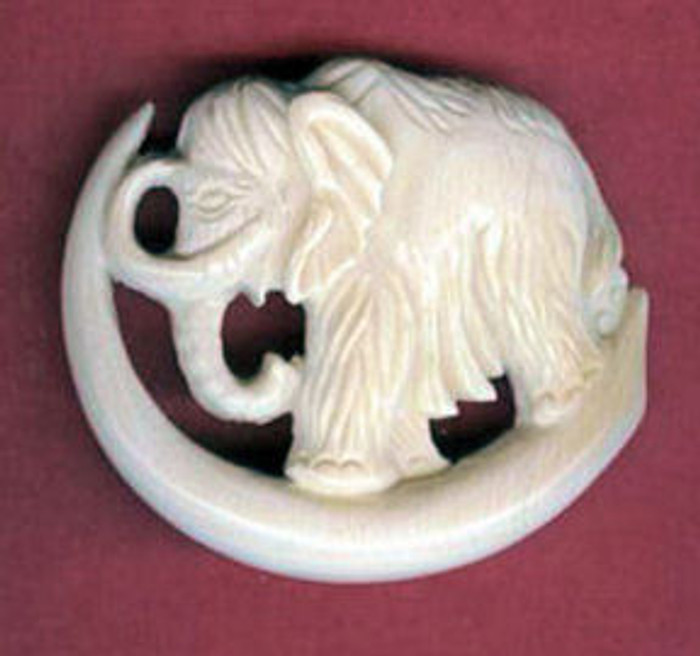 Mammoth Brooch with Mammoth standing on tusk