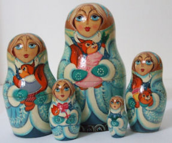 5pcs. set of Girl w/animals in winter wonderland