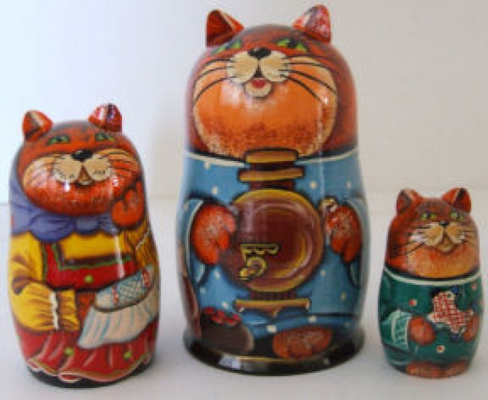 3pcs. Russian Nesting doll of Cats with Russian Samovars