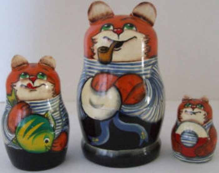3pcs. Russian Nesting doll of Cats in Sailor Outfits