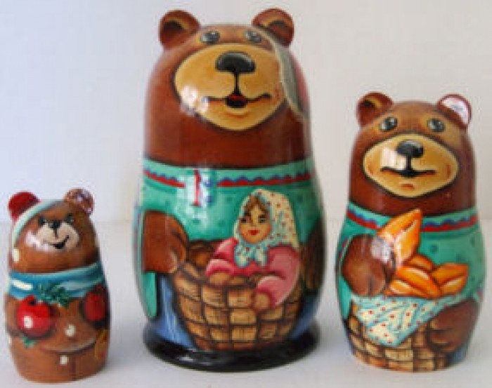 3pcs. Russian Nesting doll of bears w/little red riding hood