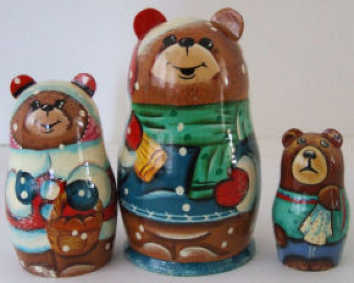 3pcs. Russian Nesting doll of bears dressed as santa's