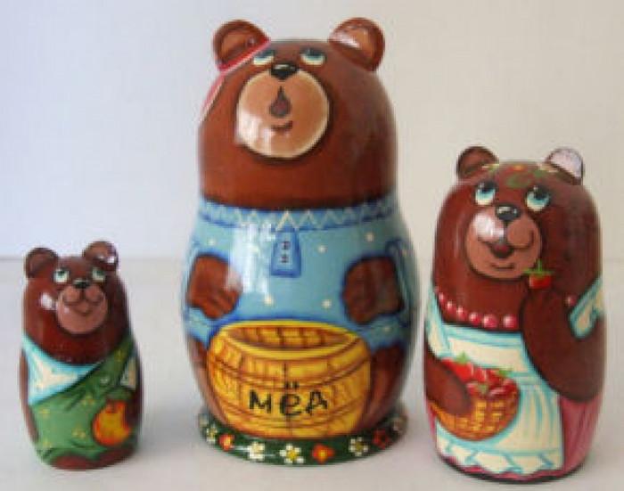 3pcs. Russian Nesting doll of bear w/honey