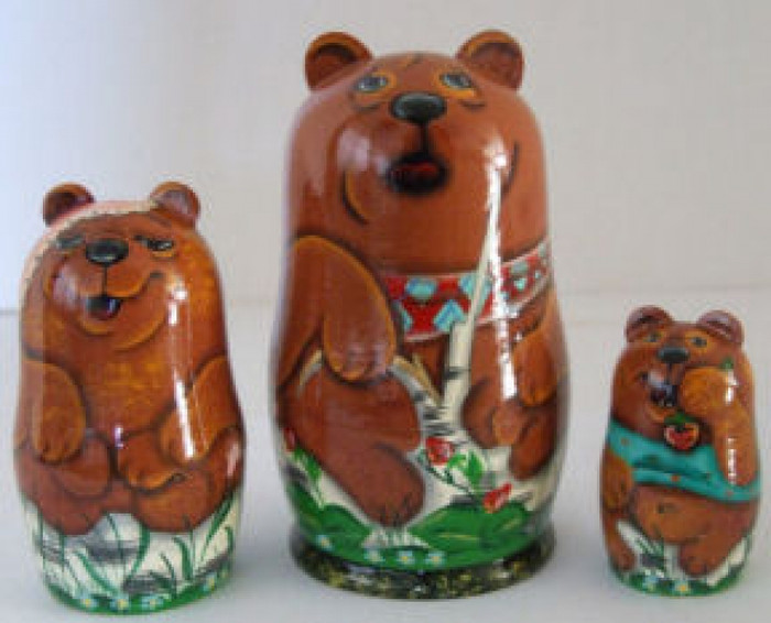 3pcs. Russian Nesting doll Bears in a Forest