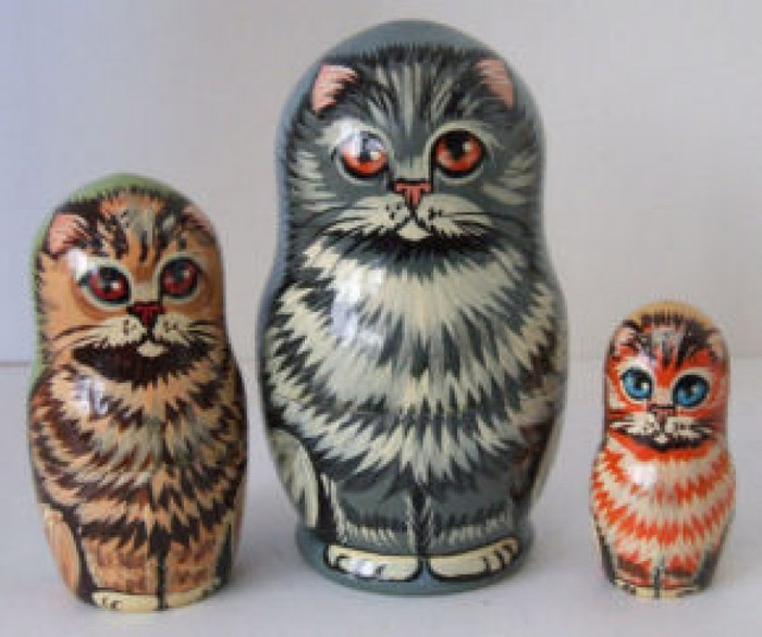 3pcs. Russian Nesting doll of Different Color Cats