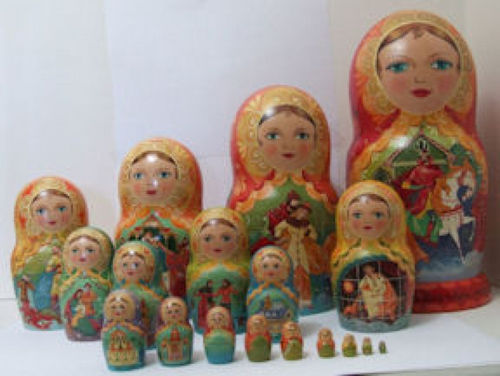 "19pcs. Russian Nesting doll ""Song about czar Ivan Vasilievich"" by Lushenko"