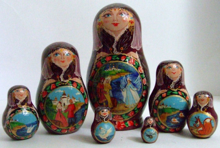 "7pcs. Russian Nesting Doll ""Swan Princess"" fairytale"