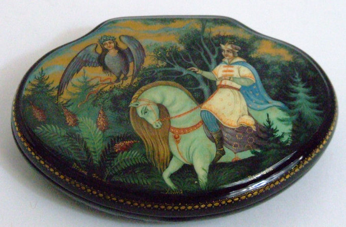 "Kholui Russian Lacquer Box ""Phoenix Bird"" by Papilova"