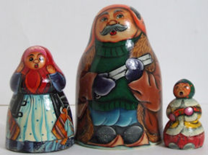 Three Piece Russian Nesting Doll of Hunter Hunting The Wolf
