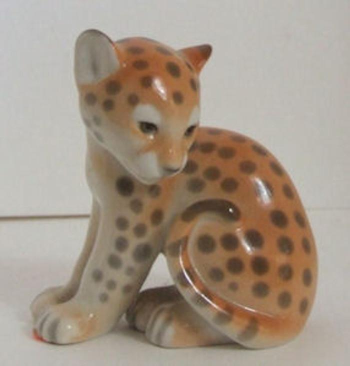 Lomonosov Porcelain Animal Figurine of a Leopard Cub