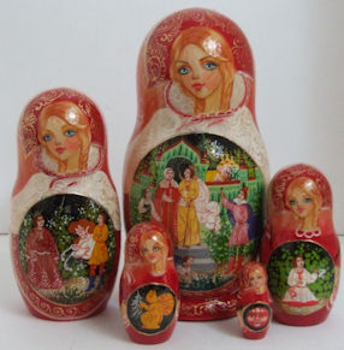 "5pcs. Russian Matroyshka Doll ""Tale of Tsar Sultan"" by Korelina"