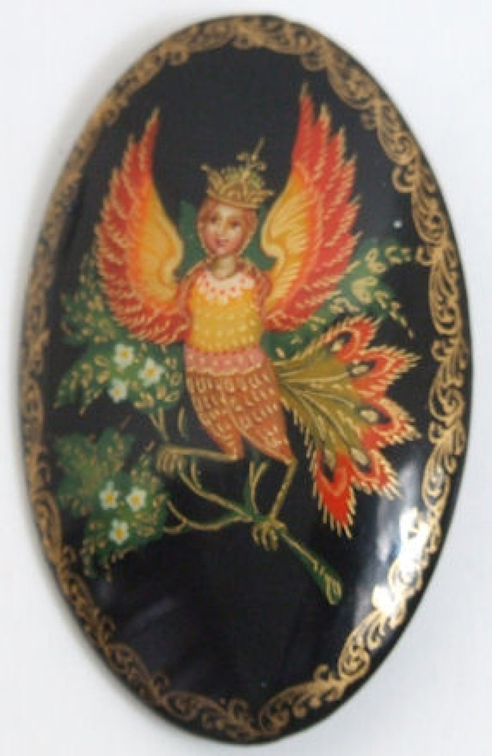 Hanpainted Lacquer Brooch Firebird fairytale