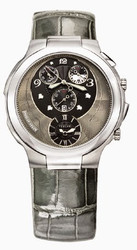 Philip Stein - Round Chronograph Case, Black and Silver Dial, Alligator Shiny Grey Strap