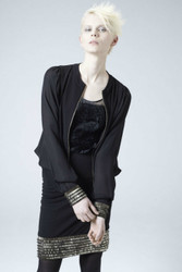 Heike Jarick - Fall Winter Jacket and Skirt edged sleeves & hem in gold sequins (Vienna Top)