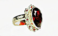 DAFNA PODLUBNY - Artisan Crafted 925 Sterling Silver Ring w Ruby Red Quartz & Small Garnets