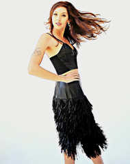 Heike Jarick -  The Leather Fringe Skirt with Black Caviar Beading details