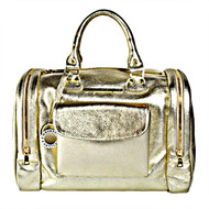 """Christina Castillo - """"The Debutante"""" Leather Travel Bag. You will turn heads with this Metallic Gold Full Grain Italian Leather Travel Bag. This product is proudly handcrafted in the U.S.A. with Italian leather and shiny metal hardware Logo signature to give the Debutante its undeniably luxurious look. Made in the USA*"""