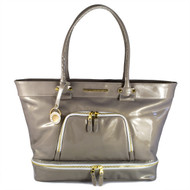 """Christina Castillo - The Joshua Street Tote.*Made in the USA The Joshua Street Tote is made from  beautiful patent Italian Saffiano leather in Pearlized Taupe that will keep its extraordinary shine and color for years to come. Lined with luxurious taupe bengaline and adorned with shiny gold hardware.  Dimensions: 12.5""""H x 19""""L x 5""""D   Straps: 26"""" rounded shoulder straps Drop: 11""""   Proudly made in the USA*"""