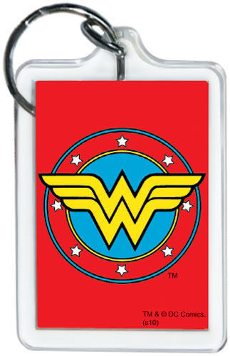 "DC Comics Wonder Woman Logo 3"" x 2"" Officially Licensed Lucite Double Sided Keyc"