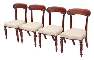 Antique set of 4 mahogany Regency William IV dining chairs