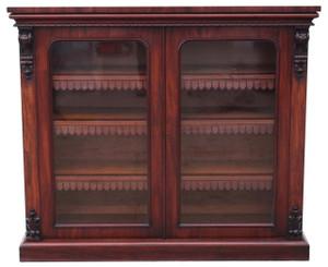 Antique Victorian mahogany glazed bookcase display cabinet cupboard