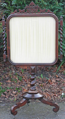 Antique Victorian rosewood silk glass fire screen