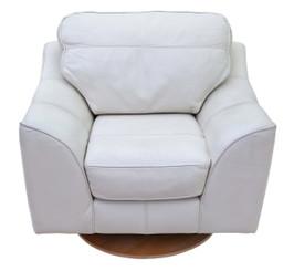 Quality contemporary Italian cream leather swivel armchair