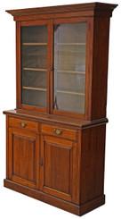 Antique large Victorian walnut glazed bookcase display cupboard cabinet