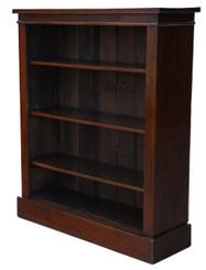 Antique Victorian C1880-1900 mahogany open bookcase adjustable shelves