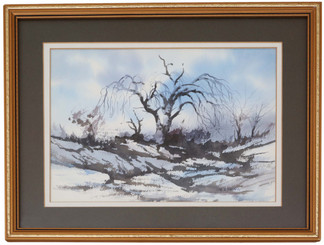 Framed oriental watercolour painting of a winter landscape HS Yeung