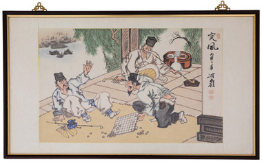 Large framed oriental watercolour caricature painting
