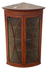 Antique quality Georgian 19C mahogany glazed corner cupboard display cabinet