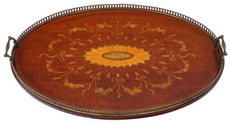 Antique quality Victorian inlaid mahogany oval serving tray tea