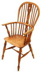 Antique Victorian ash elm Windsor armchair chair hall side carver dining