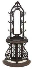 Antique large C1890 French cast iron hall, coat, hat, stick, umbrella stand