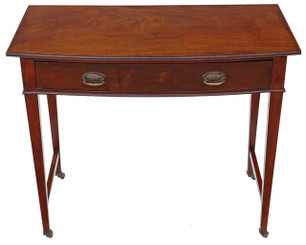 Antique Victorian C1900 bow front mahogany writing table desk dressing