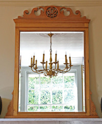 Antique Edwardian / Victorian C1900 satin Walnut wall mirror overmantle