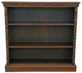 Antique Victorian carved oak bookcase display shelves Edwards and Roberts