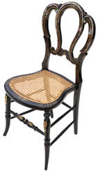 Antique rare Victorian C1890 mother of pearl cane inlaid bedroom chair