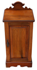Antique quality Victorian C1895 walnut bedside table cupboard cabinet