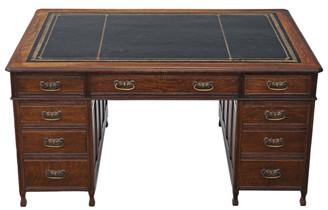 Antique large Edwardian C1910 oak twin pedestal partner's desk